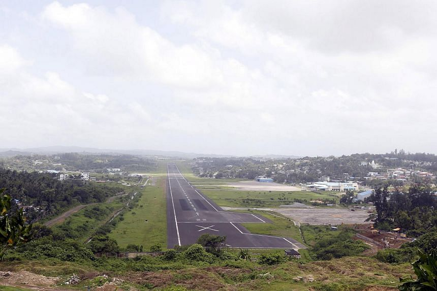 A general view of the runway controlled by the Indian military at Port Blair airport in the Andaman and Nicobar Islands, India, is seen in this July 4, 2015 file photograph.