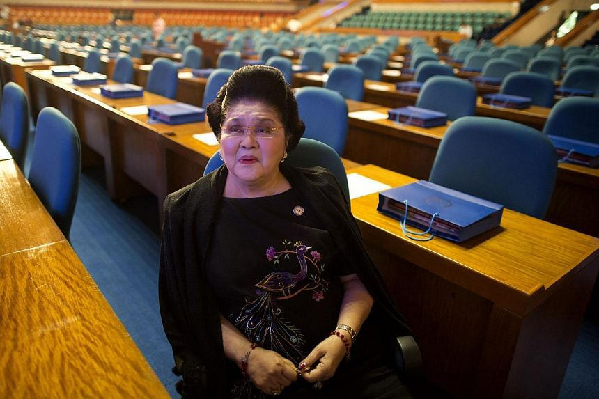 Philippine former first lady and now congresswoman, Imelda Marcos, at the 16th Congress third regular session at the House of Representatives in Manila on July 27, 2015.