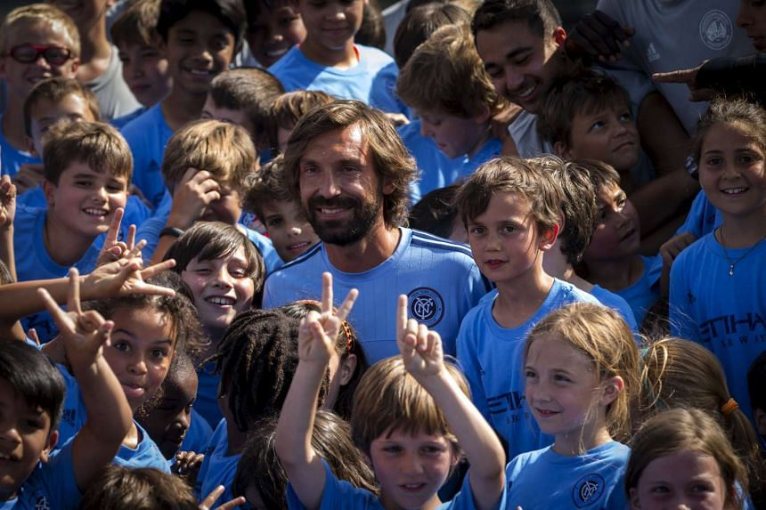 Pirlo at a youth soccer camp after being introduced by New York City FC as their newest player.
