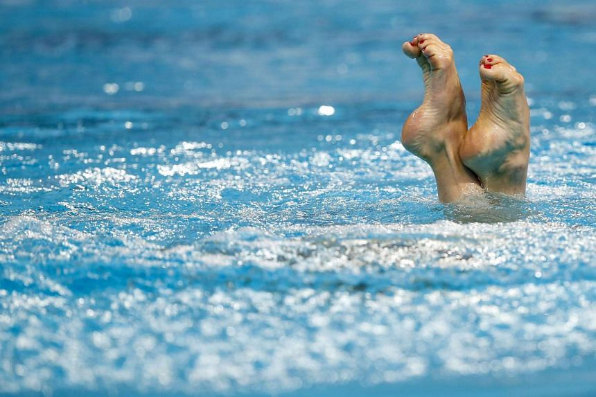Natalia Ishchenko of Russia performing during the women's Solo Free preliminary round of the Synchronised Swimming events at the FINA Swimming World Championships in Kazan, Russia, on July 27, 2015.