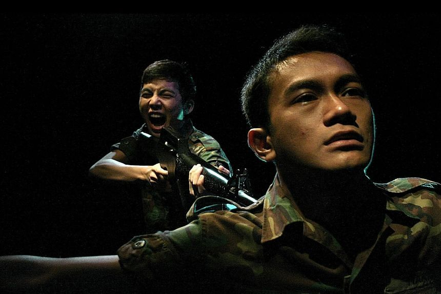 Charged unfolds as a probe after a Chinese soldier (Tan Shou Chen) kills his Malay colleague (Yazid Jalil) before killing himself. Chong Tze Chien felt the army was an ideal setting for the play, as a hotbed of personalities and culture clashes. Char