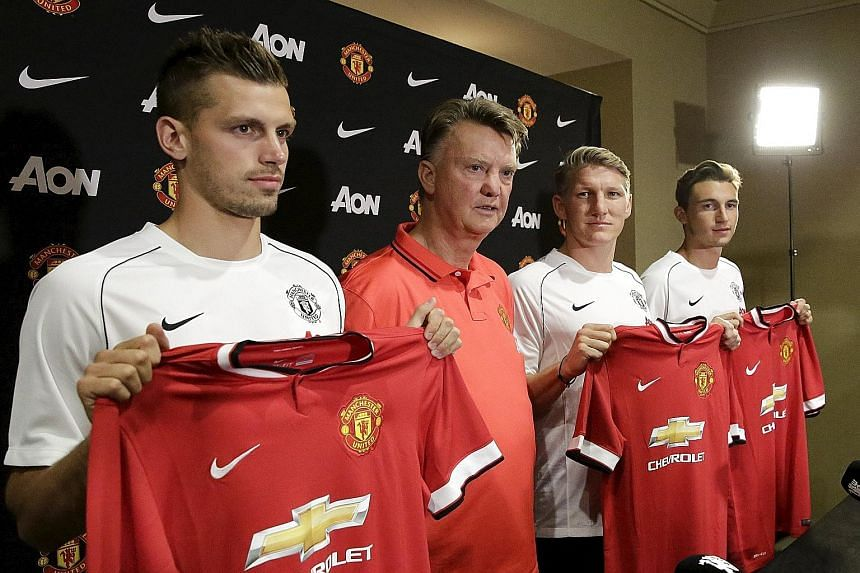 This summer, Louis van Gaal (in red) has brought in new players like (from left) Morgan Schneiderlin, Bastian Schweinsteiger and Matteo Darmian. But the Manchester United manager still craves a game-changer.