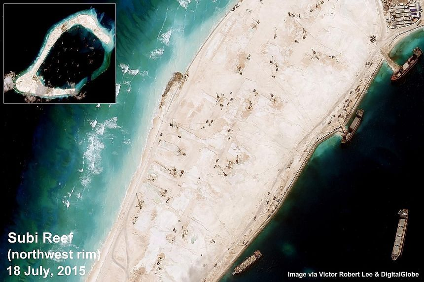 Satellite images showing construction on (clockwise from left) Subi reef in the South China Sea, the south-west rim, and the north rim of the reef in the Spratly archipelago.