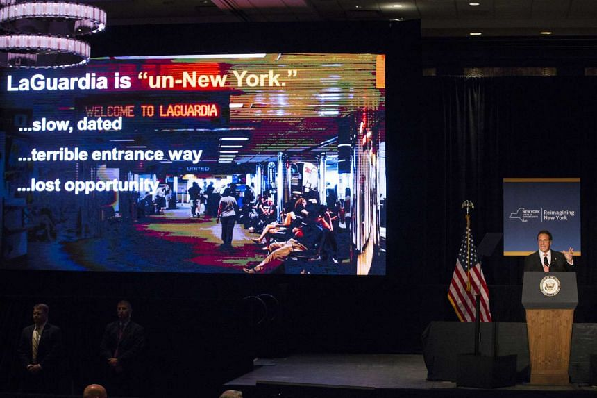 Governor Andrew Cuomo announcing a major reconstruction project of New York's LaGuardia Airport on July 27, 2015.