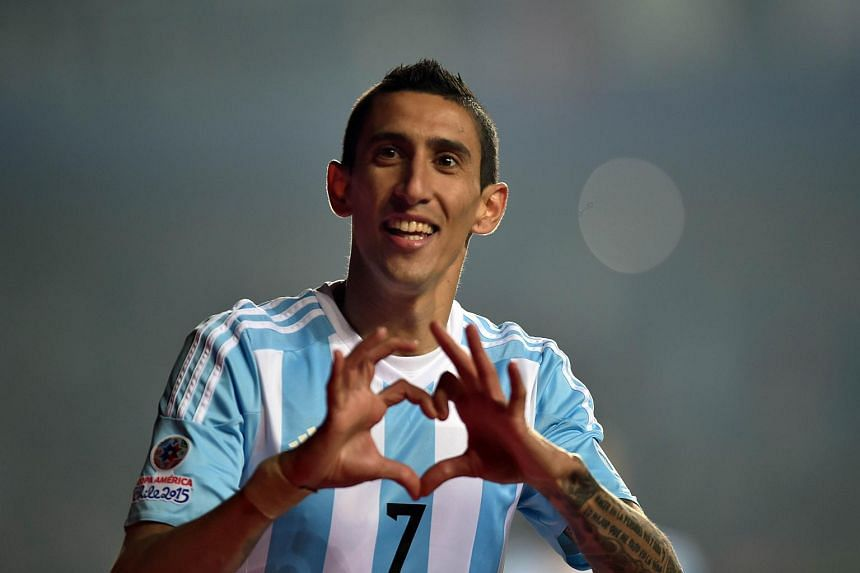 Angel Di Maria celebrates after scoring against Paraguay during their Copa America semifinal football match in Concepcion, Chile.