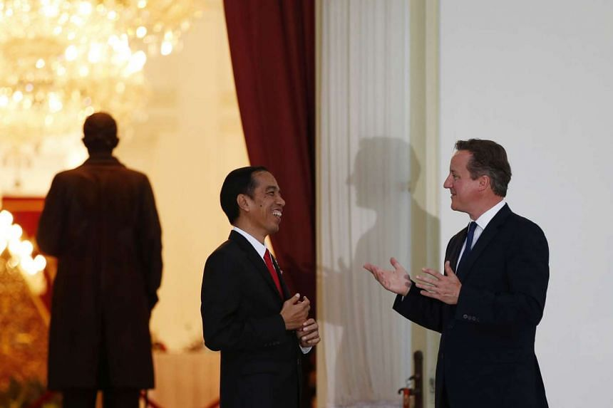 Britain's Prime Minister David Cameron (R) and Indonesia's President Joko Widodo chat while at the Presidential Palace in Jakarta, Indonesia on July 27, 2015.