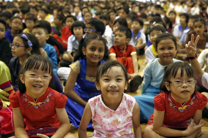 Pupils of Anchor Green Primary School on Racial Harmony Day on July 21, 2015.