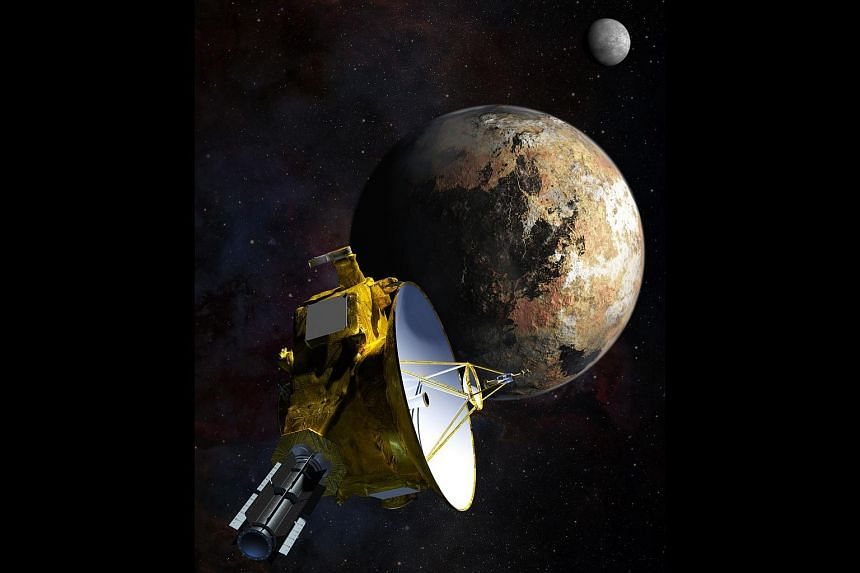An artist's impression of the New Horizons spacecraft as it approaches Pluto and its largest moon, Charon.