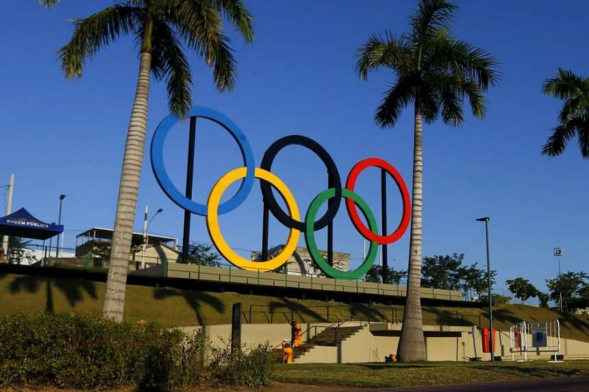 The Olympic rings at the Madureira Park ahead the Rio 2016 Olympic Games.