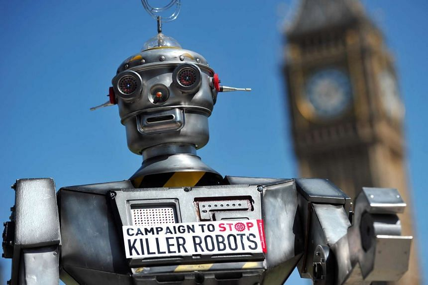 "A mock ""killer robot"" is pictured in a file photo during the launch of a campaign in London to stop them being produced."