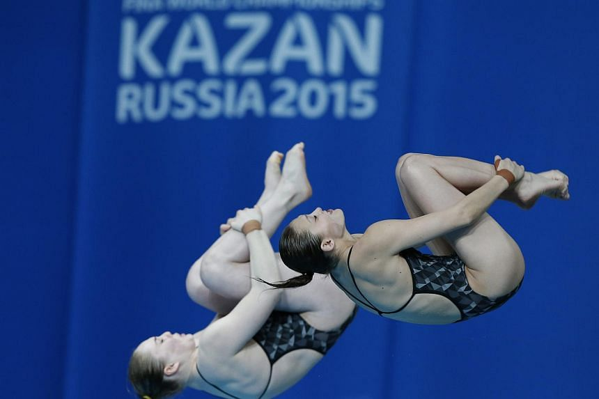 Australian Lara Tarvit and Melissa Wu compete in the women's 10m Synchro Platform final at the 16th FINA World Championships in Kazan, Russia on July 27, 2015.