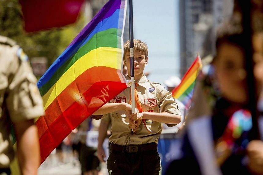 A Boy Scout carrying a rainbow flag during the San Francisco Gay Pride Festival in 2014.