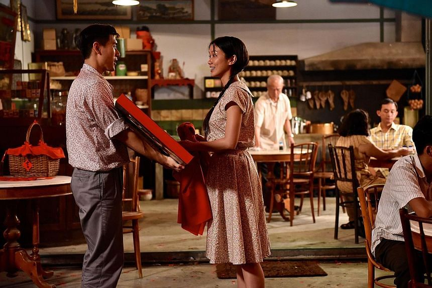 On the the left are actors James Seah and Joanne Peh in a scene from the movie.