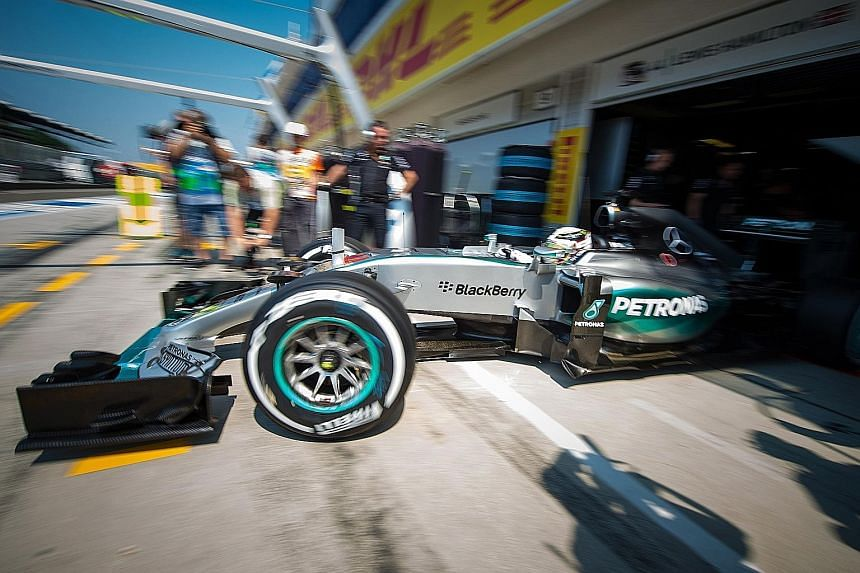 Lewis Hamilton driving out of the pits at the Hungarian Grand Prix. The Mercedes driver was on the back foot in Budapest on Sunday after another poor start, eventually salvaging sixth place after an error-strewn display.