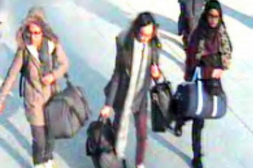 British schoolgirls (from left) Amira Abase, Kadiza Sultana and Shamima Begum at Gatwick airport in February. They were travelling to Syria to become the brides of ISIS fighters.