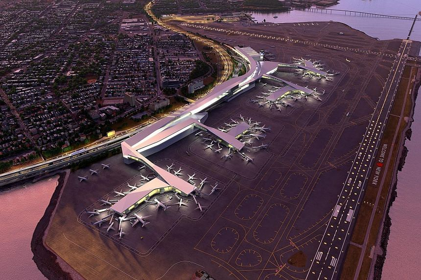 An artist's impression of the new LaGuardia Airport. The current airport is a collection of disconnected, dilapidated terminals and it languishes at the bottom of rankings for on-time departures year after year.