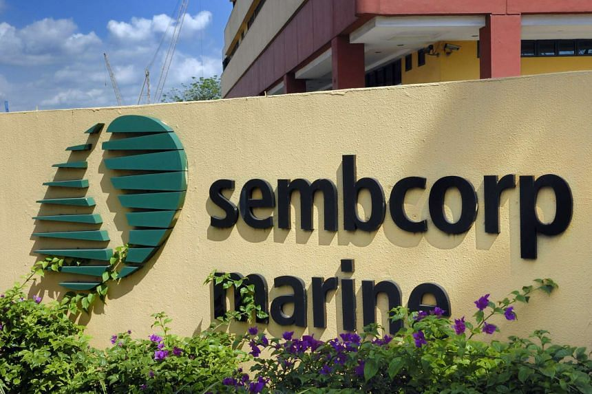 The logo of Sembcorp Marine Ltd. is displayed at the company's Sembawang Shipyard drydocks in Singapore.