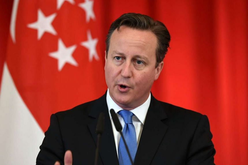 British Premier David Cameron at an event in Singapore. PHOTO: SPH