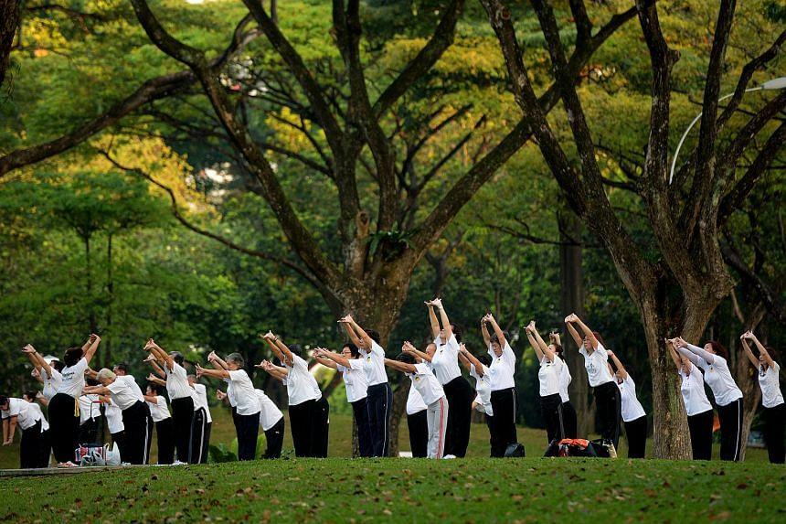 A group of senior citizens exercising at Bishan Park.