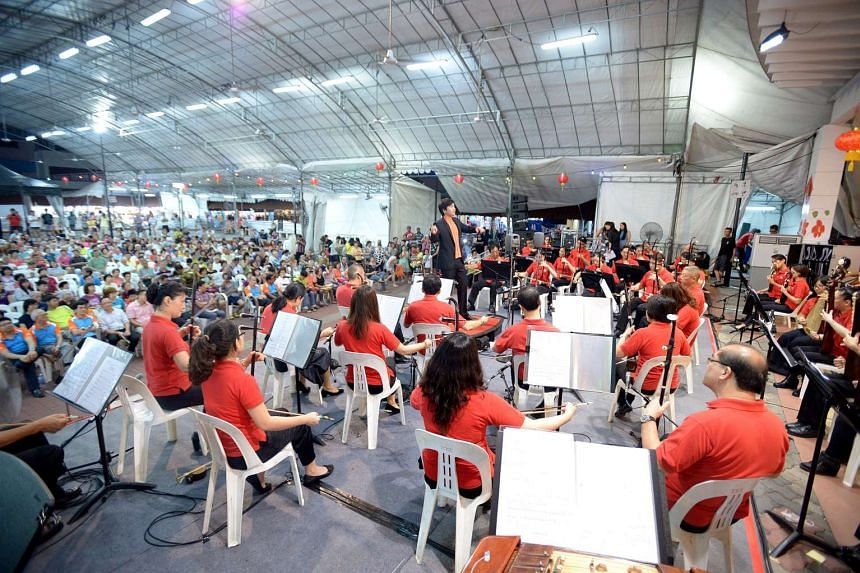 The Singapore Chinese Orchestra (SCO) performing at Nee Soon East Courtyard. The concert is part of SPH Gift of Music.