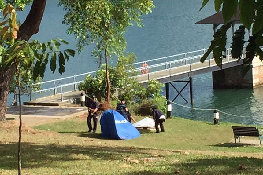 Forensics taking photographs of the body found at MacRitchie Reservoir.