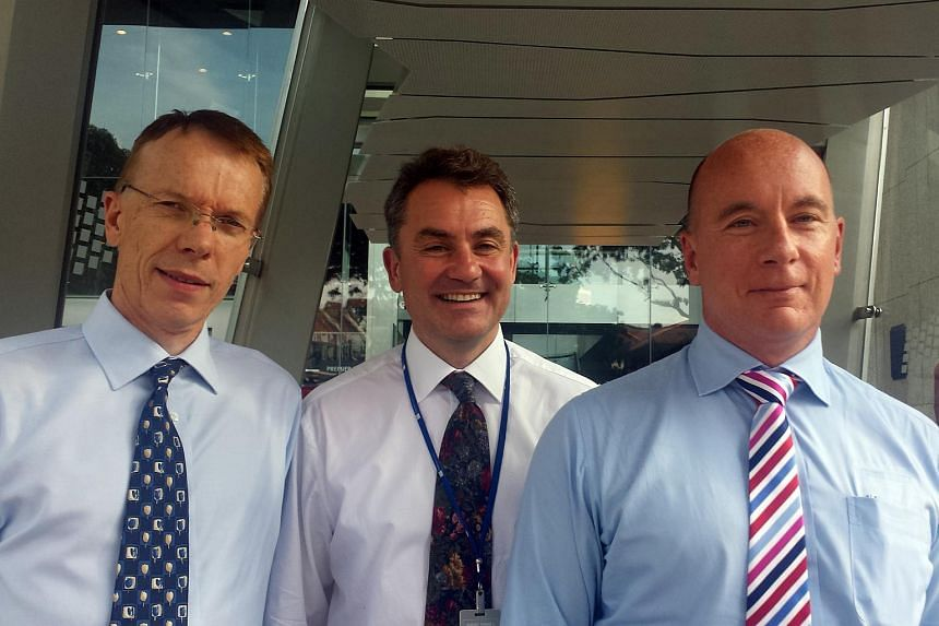 (From left) Global Invacom's executive director Malcolm Burrell, executive chairman Anthony Taylor and chief financial officer Matthew Garner.