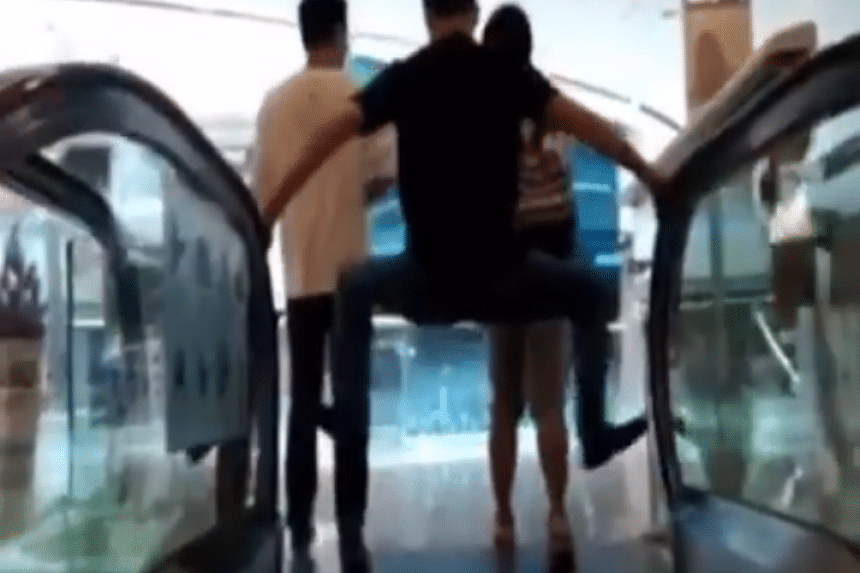 The Chinese are practising extreme caution when riding the escalator after a fatal incident in a shopping mall.