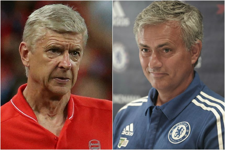 Arsene Wenger (left) has defended Arsenal's spending policy from criticism by Chelsea's Jose Mourinho.