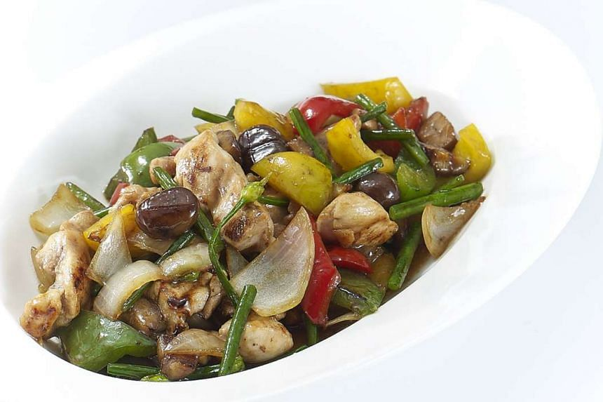 Turkey meat tossed with bell peppers and chestnuts for a lean yet nutritious dish.