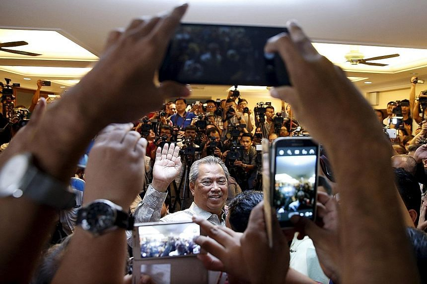 Former Malaysian DPM Muhyiddin Yassin addressing the media yesterday in Kuala Lumpur. A video clip with poor audio surfaced yesterday of him speaking to several guests, claiming that PM Najib Razak had admitted that funds linked to 1MDB were deposite