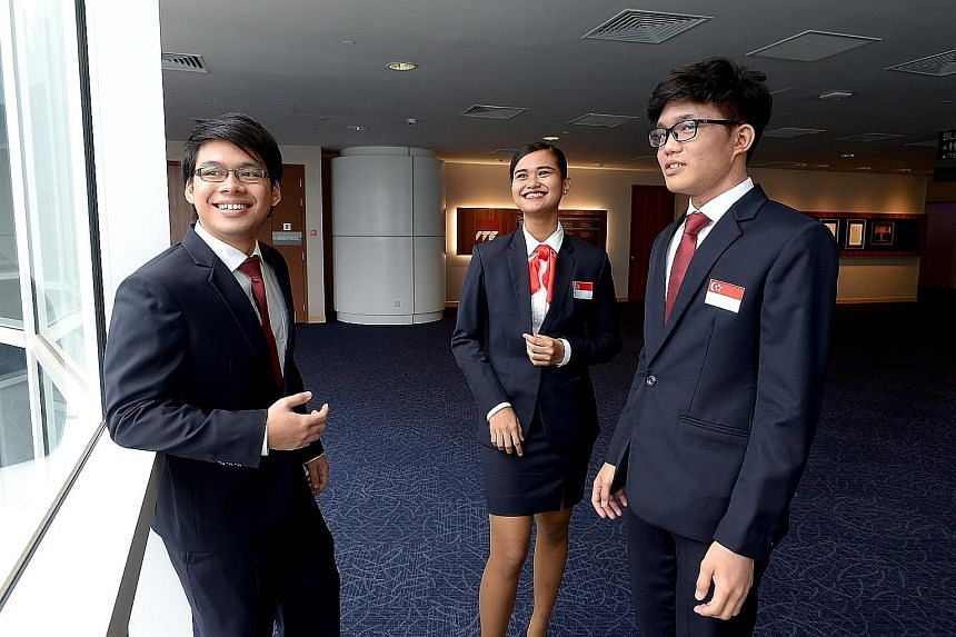 Singapore's team for the WorldSkills contest include (from far left) Muhammad Mahmoud Abdullah Ng, Farisha Dhamiera Bohari and Muhammad Miqdad Mazlan.