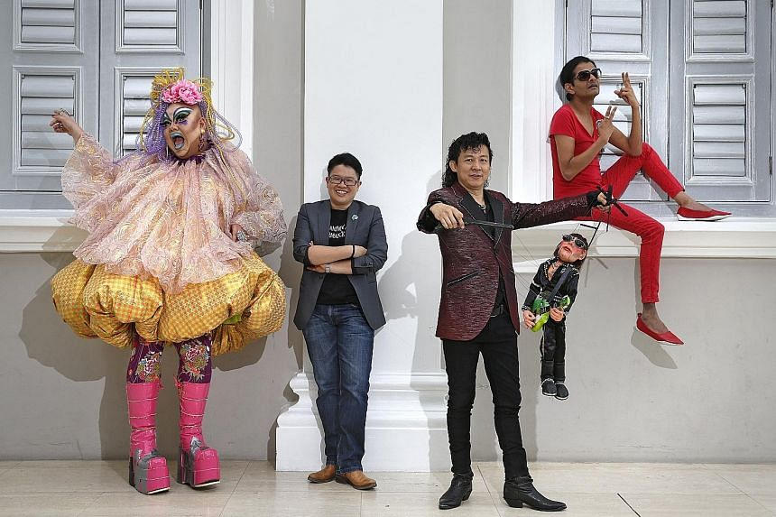 (From left) Drag queen Becca D'Bus, Singapore Night Festival creative director Christie Chua, puppet artist Frankie Malachi and his puppet Jett Black and comedian Kumar will be involved in this year's event.