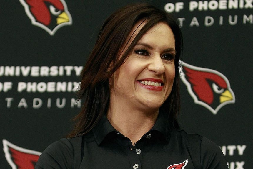 Jen Welter, who will be a Cardinals intern coach, at a press conference on Tuesday in Tempe, Arizona. The 37-year-old says she never thought that she would one day coach in the NFL.