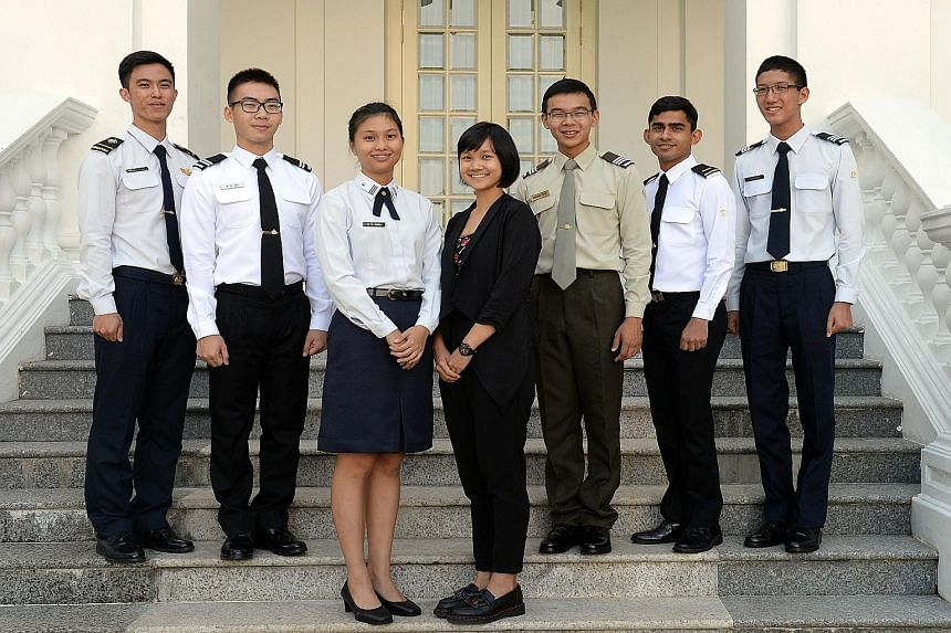 (From left) ME4(A) Justin Yeo, MID Aloysius Oh, OCT Goh Si Ying, Tay Jing Yi, OCT Jeremiah Choo, 2LT Surya Padmanabha Bhat and OCT Nathaniel Wong were among those awarded SAF and Defence scholarships this year.