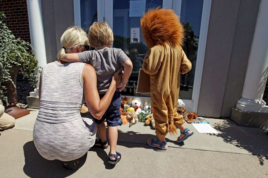 Ms Sarah Madison (left) holding her son Beckett, 3, and her daughter Quinn, 5 (in costume), looking at stuffed animals at the doorway of River Bluff Dental clinic in protest against the killing of Cecil, a famous lion in Zimbabwe.