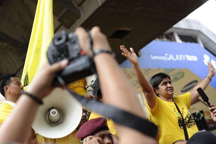 Datuk Ambiga Sreenevasan rousing the crowd at at the Bersih 3.0 rally on April 28, 2012.