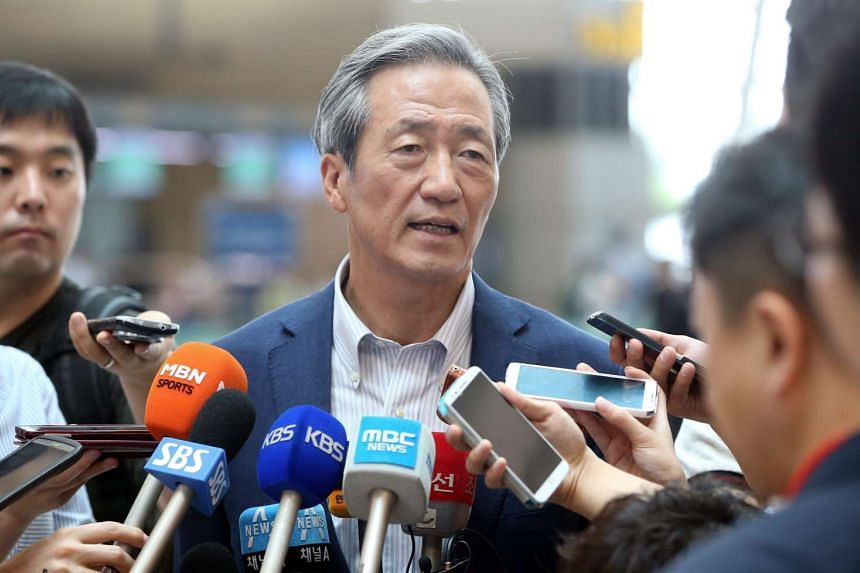Former Fifa Vice President Chung Mong-joon speaking to reporters at the Incheon International Airport on July 23, 2015.