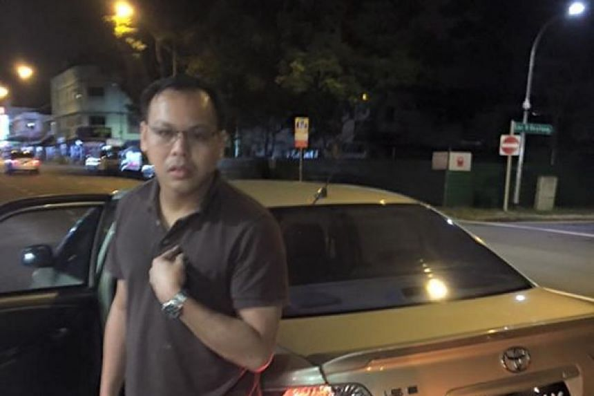 A photo of GrabCar driver Mr Winson Tong, posted on Facebook by Ms Adeline A. Lok.