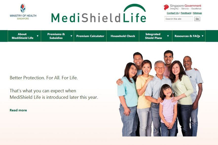 A screengrab of the MediShield Life website.