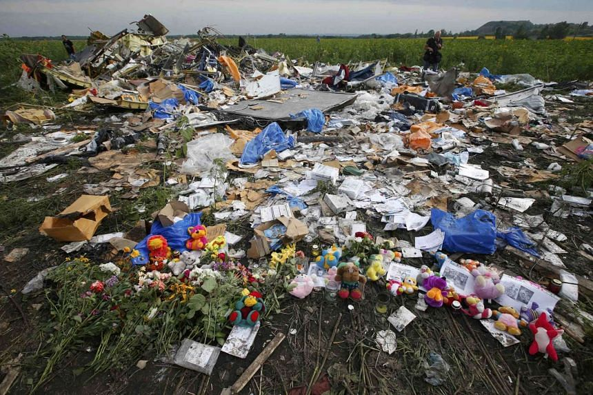 Flowers and mementos left by local residents at the crash site of the Malaysia Airlines Flight MH17 are seen near the settlement of Rozspyne in the Donetsk region, in this July 19, 2014 fie photo.