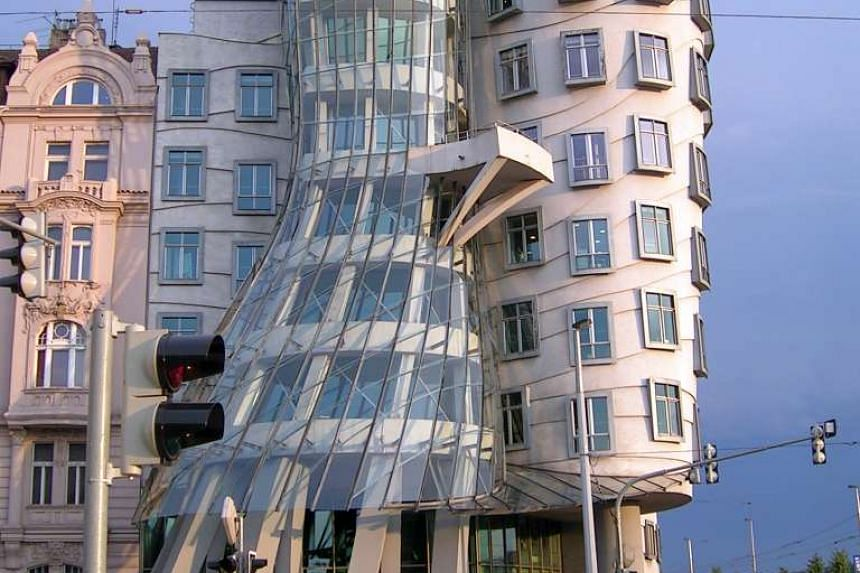 The Dancing House, designed by architect Frank Gehry, represents the actor-dancers Fred Astaire and Ginger Rogers.