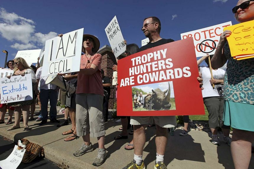 Protesters rally outside the River Bluff Dental clinic against the killing a famous lion in Zimbabwe, in Bloomington, Minnesota on July 29, 2015.