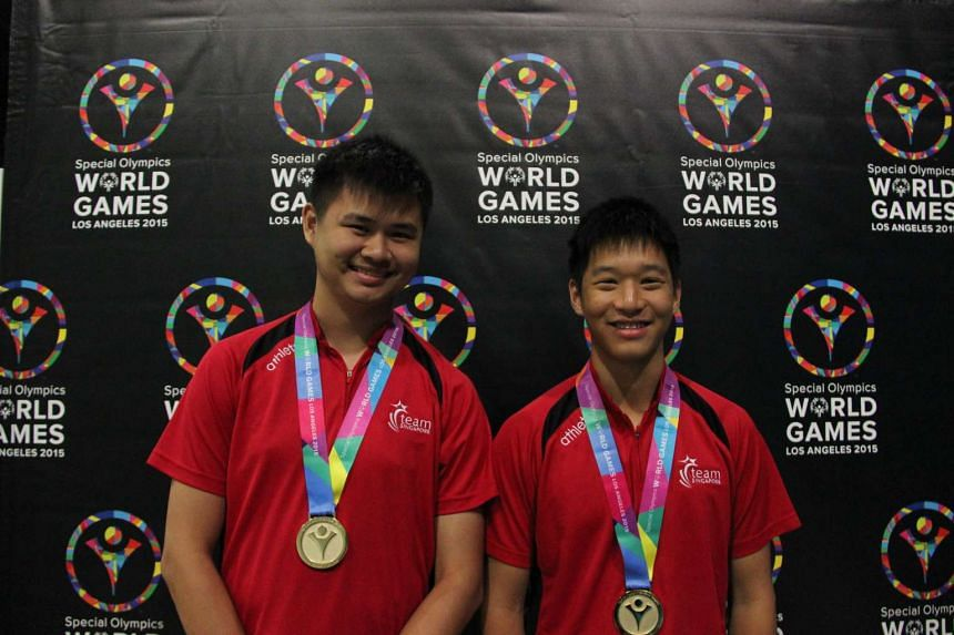 Special Olympics Singapore athlete Poh Wei Xiang (left) and unified partner Bertrand Yan clinched Gold for the Men's Bowling Unified Doubles.
