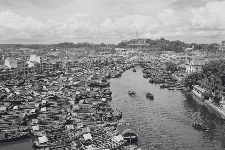 Aerial view of Boat Quay, Singapore River, on Oct 5, 1953.