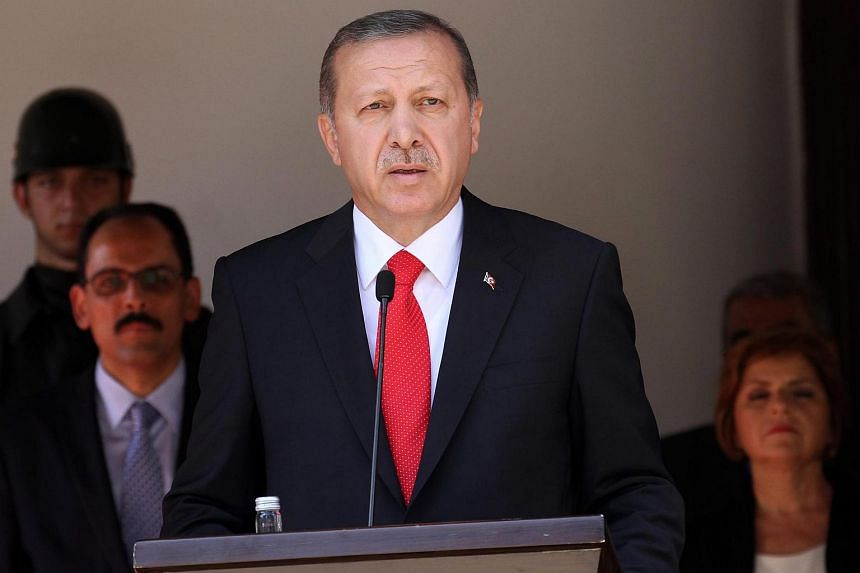 Turkish President Recep Tayyip Erdogan giving a press conference in Turkish occupied Nicosia, Cyprus on July 20, 2015.