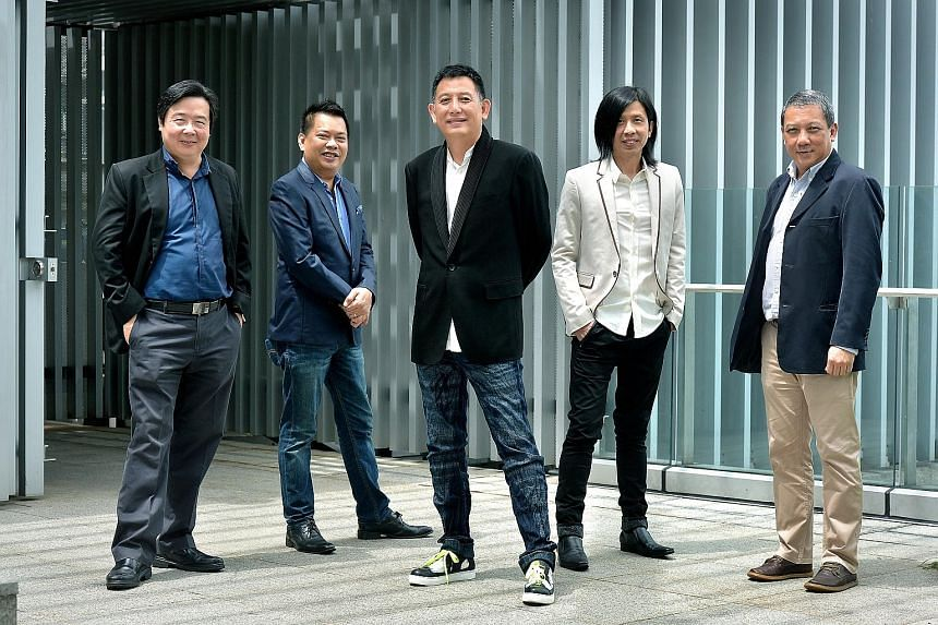 The Sing50 creative committee comprises (from left) conductor Chan Tze Law, finale arranger Indra Ismail, creative director Jeremiah Choy, music director Kenn Chua and Music & Movement CEO Lim Sek.