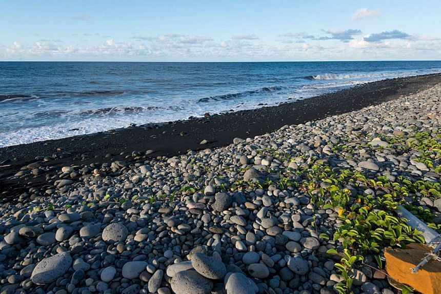 The beach where a large piece of plane debris was found on the French Indian Ocean island of La Reunion on July 30, 2015.