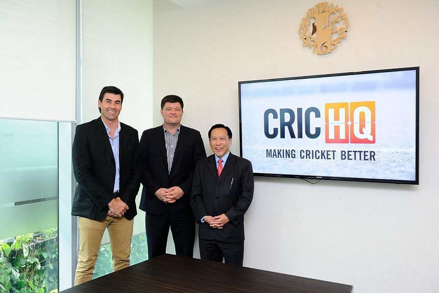 (From left) CricHQ director Stephen Fleming, CEO Simon Baker and Tembusu Partners chairman Andy Lim at the press conference on June 16, 2015.