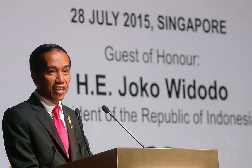 Indonesia president Joko Widodo gives a keynote speech at the Singapore-Indonesia Business Dialogue on July 28, 2015.