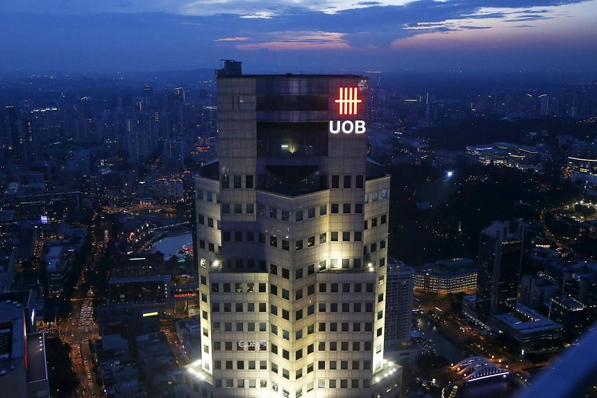 The United Overseas Bank Plaza building pictured in the central business district in Singapore.